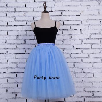 Knee-length 7 Layers Tulle Skirt Summer Mesh Skirts Fashion Women Adult Tutu Skirts Organza Wedding Party 2017