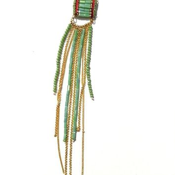 Dangle Beads and Chains Necklace - Mint Green