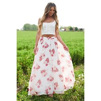 Sweet Obsession Skirt (Ivory/Pink)