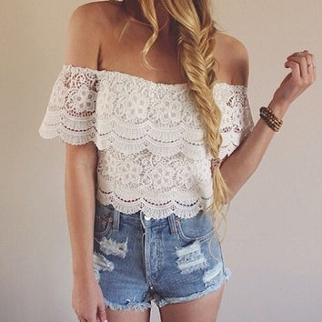 Sexy Women Fashion Lace Crochet Off-Shoulder Tops Blouse Shirt T-Shirt Tee S M L A_L = 1658499076