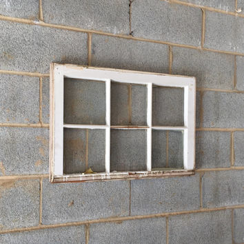 Vintage 6 Pane Window Frame - White, 27 x 20,  Rustic, Wedding, Beach Decor, Photos, Pictures