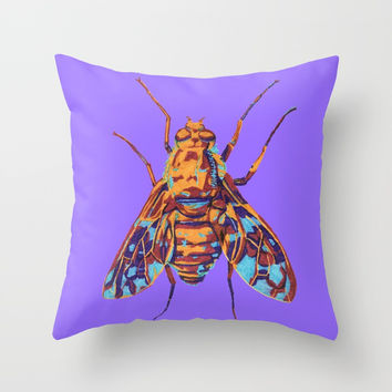 Tiger Bee Fly Throw Pillow by Rachel Hoffman