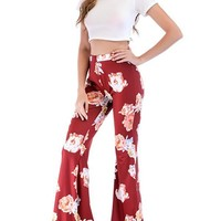 New Red Floral Print Bell Bottom High Waisted Comfy Long Pants