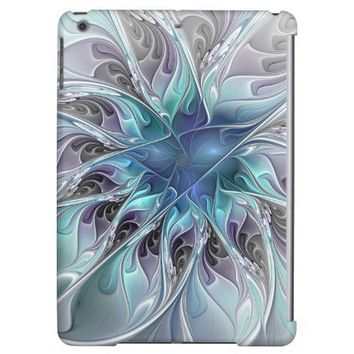 Flourish Abstract Modern Fractal Flower With Blue Cover For iPad Air
