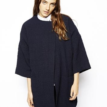 ASOS Nautical Trapeze Coat - Navy
