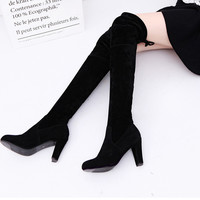 2016 New designer brand slim thigh high boots woman suede fashion over the knee boots women shoes high heels autumn ladies boots