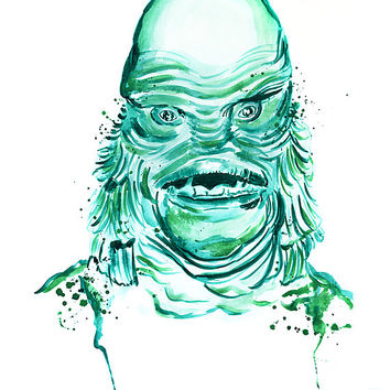 Creature from the Black Lagoon Print, prints, digital prints, wall art, home décor, wall décor, giclee, watercolor painting, watercolor,
