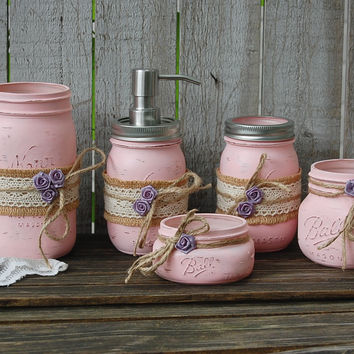 Pink mason jar bathroom set
