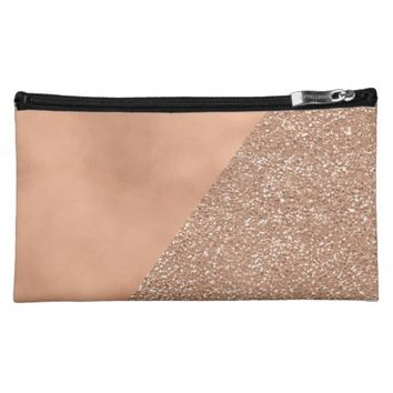 Rose Gold Glitter Trendy Modern Cosmetic Bag