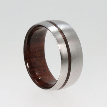 Mens Titanium Wedding band with a Bolivian Rose by jewelrybyjohan