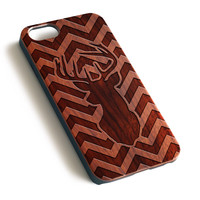 Chevron Milu Deer Natural wood iPhone case laser engraved iPhone case WA030