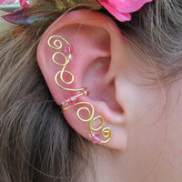 Pink Beaded Gold Wire CurlyQ Ear Cuff by TheHempChick on Etsy