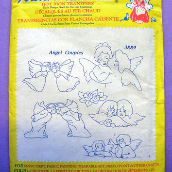 "Aunt Martha's ""Angel Couples"" Hot Iron Transfer Pattern 3889 for Embroidery, Fabric Painting, Needle Crafts, OOP"