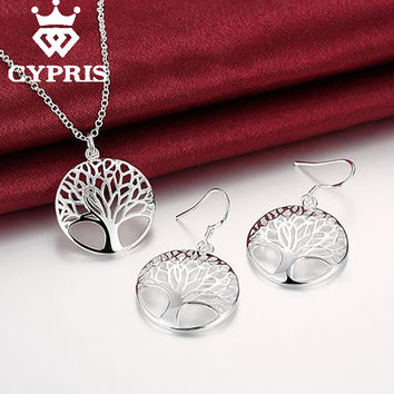 2016 CHIC Silver Tree Of Life jewelry set necklace earrings 18inch totem gift wife girl friend women wedding Valentines Day 925
