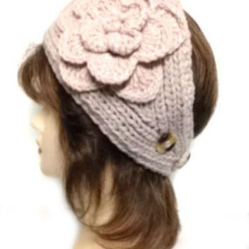 Women's Light Pink Large Crochet Flower Adjustable 2 Button Stretch Headband Ear Warmer Crochet Headband