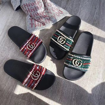 Gucci slide sandal with crystal