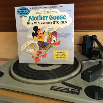 Vintage 1972 Walt Disney's Mother Goose Rhymes and their Stories / Disneyland Long Playing Record