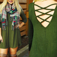 Army Green Lace-up Back Trapeze Dress
