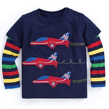 Baby Boy Sweatshirt Boys T shirts for Kids Clothes 100% Cotton Animal Appliques Children T-shirts for Toddler Boy Clothing