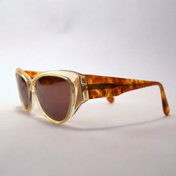 Vintage 80s 90s Sunglasses - Vintage Two Tone Sun Glasses w Tortoise Shell Arms & Clear Transparent Front w Gold Tone Accents
