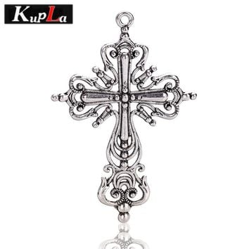 Vintage Metal Hollow Filigree Religious Cross Charms DIY Jewelry Handmade Cross Charms for Jewelry Making 12pieces/lot  C5439