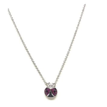 HOT PINK LADYBUG SILVER PLATED NECKLACE