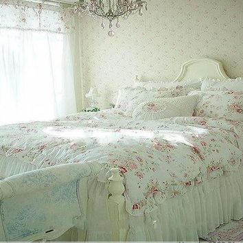 Cool Vintage Red Rose princess Bedding set floral cotton girls Duvet Cover king queen twin rural comforter setAT_93_12