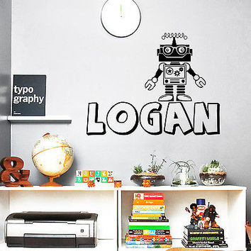 Vinyl Name Wall Decals Robot Iron Man Decal Boy Nursery Room Decor Custom DA3724