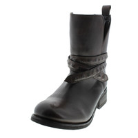 Diesel Womens Roxy Roll Sashan Leather Ankle Motorcycle Boots