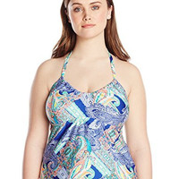 Kenneth Cole Women's Plus-Size Paisley Intuition U-Neck Tankini