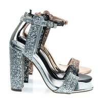 Arianna2 By X2B, Sparkling Glitter Block Heel, Open Toe Party Sandal