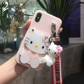 For iphone XS MAX /XR X kitty Case for iphone  8 7 plus Cartoon HelloKitty mirror Soft Case For iphone 6 6splus 3D holder Strap