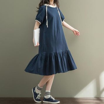 Women Summer Preppy Style Short-Sleeve Hooded Small Fresh Dresses Mori Lolita Cotton Linen Casual Flounce Loose Dress for Girls