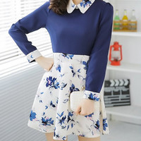 Blue Flat Collar Floral Printed Dress