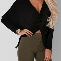 Amerezy Black Cross Over Top   Pink Boutique
