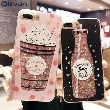 Ollivan girls bottle quicksand case for iphone 7 case silicone TPU PC Dynamic liquid glitter cover for iphone 6 6s 7 plus fundas
