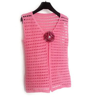 Women Sleeveless Jacket, pink summer spring jacket, (ready to ship- S size)