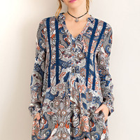 Paisley Button Down Shirt Dress