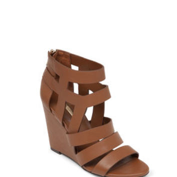 Maya Cage Wedge Sandal in Brown - BCBGeneration