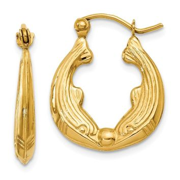 14k Gold 10 mm Dolphin Hoop Earrings