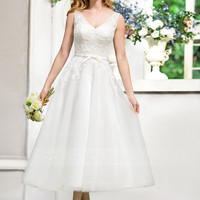 [£ 98.00] A-Line/Princess V-neck Tea-Length Tulle Lace Wedding Dress With Bow(s) (002052767)