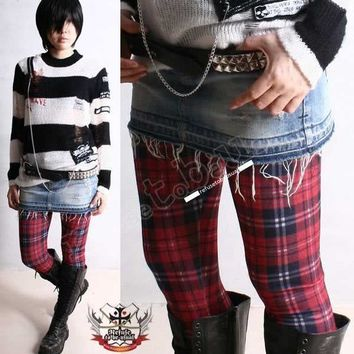 Punk Gothic Red Tartan Plaid Ankle Cropped Tappered Leggings S