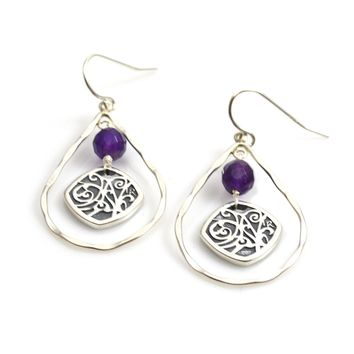 Sterling Silver Earrings with Hammered Teardrop and Medallion with Amethyst