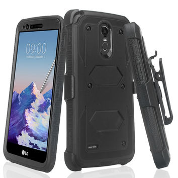 LG Stylo 3 Case, LG Stylo 3 Plus Case, Triple Protection 3-1 w/ Built in Screen Protector Heavy Duty Holster Shell Combo Case for LG Stylo 3 - Black