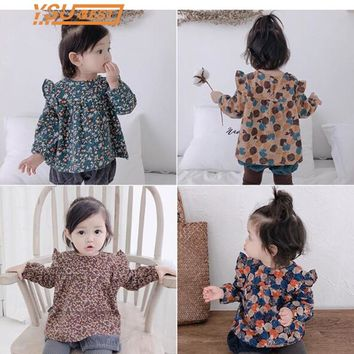 2018 Toddler Girls Tops Tee Ruffles Collar Retro Girl Flower Blouses Children blouse for Girls Clothes Flower Print Baby outwear