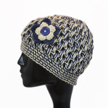 Crochet Bubble Hat, Football Team Colors, Pittsburgh Panthers, St Louis Rams, Navy Blue and Gold, Winter Accessories - READY TO SHIP