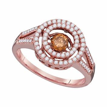 10kt Rose Gold Womens Round Cognac-brown Color Enhanced Diamond Moving Twinkle Solitaire Ring 5/8 Cttw