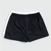 White And Black Woven Boxers - TOPMAN USA