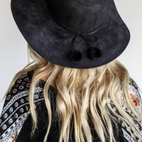 Keep Cool Black Floppy Hat with Pom Pom Bow