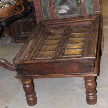 Antique Arabic Calligraphy Table Indian Handcarved Unique Style Hotel Design Vintage Furniture Home Decor Coffee Table